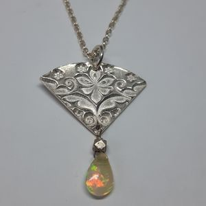 Sterling Silver and Welo Opal Necklace